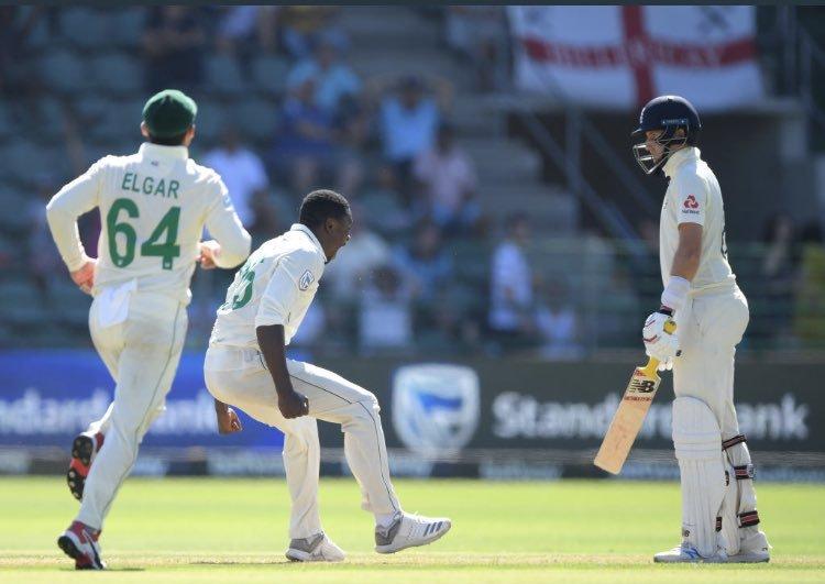 Kagiso rabada celebrates after taking wicket of joe root